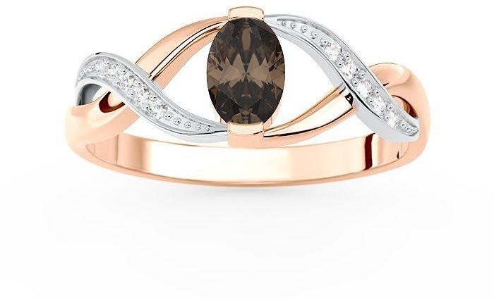 Pierścionek z różowego i białego złota z kwarcem dymnym i brylantami ap-69pb