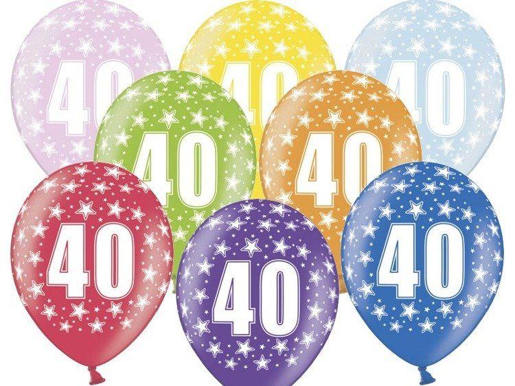 Balony 40 na czterdzieste urodziny 6 sztuk SB14M-040-000-6