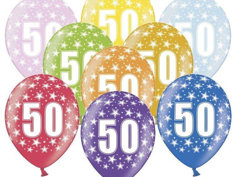 Balony 50 na pięćdziesiąte urodziny 6 sztuk SB14M-050-000-6