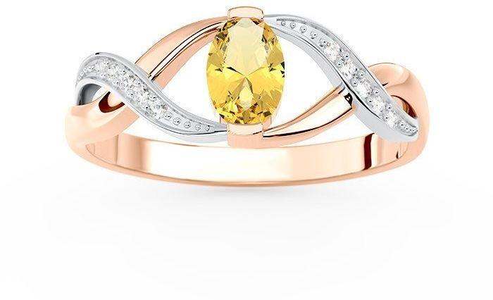 Pierścionek z różowego i białego złota z cytrynem i brylantami ap-69pb