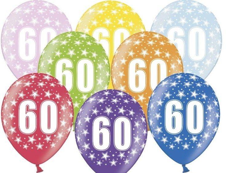 Balony 60 na sześćdziesiąte urodziny 6 sztuk SB14M-060-000-6