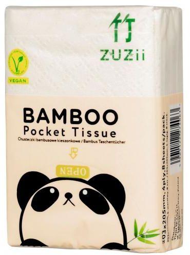 Chusteczki bambusowe kieszonkowe 8 x 8 szt Zuzii