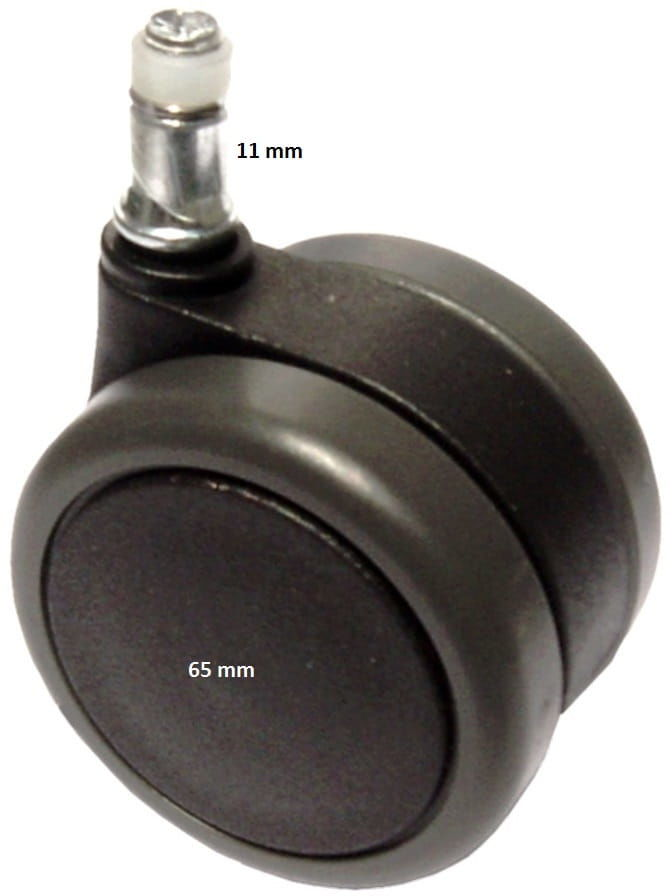 Kółka miękkie z hamulcem automatycznym 65_11 do foteli biurowych