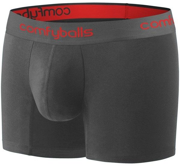 COMFYBALLS bokserki LONG COTTON szaro-czerwone - szaro-czerwony