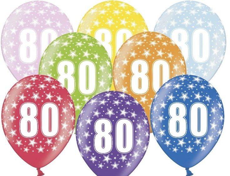 Balony 80 na osiemdziesiąte urodziny 6 sztuk SB14M-080-000-6