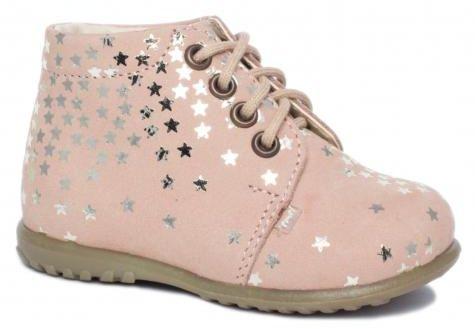 EMEL E 2364-15 roczki klasyczne trzewiki, półbuty profilaktyczne dla dziewczynek - różowe gwiazdki