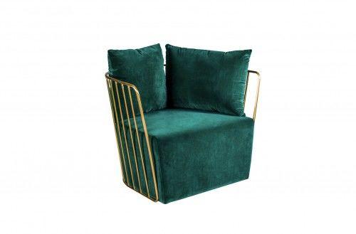 Aksamitny fotel Lao butelkowa zieleń