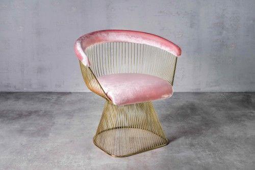 Aksamitny fotel Praslin różowy