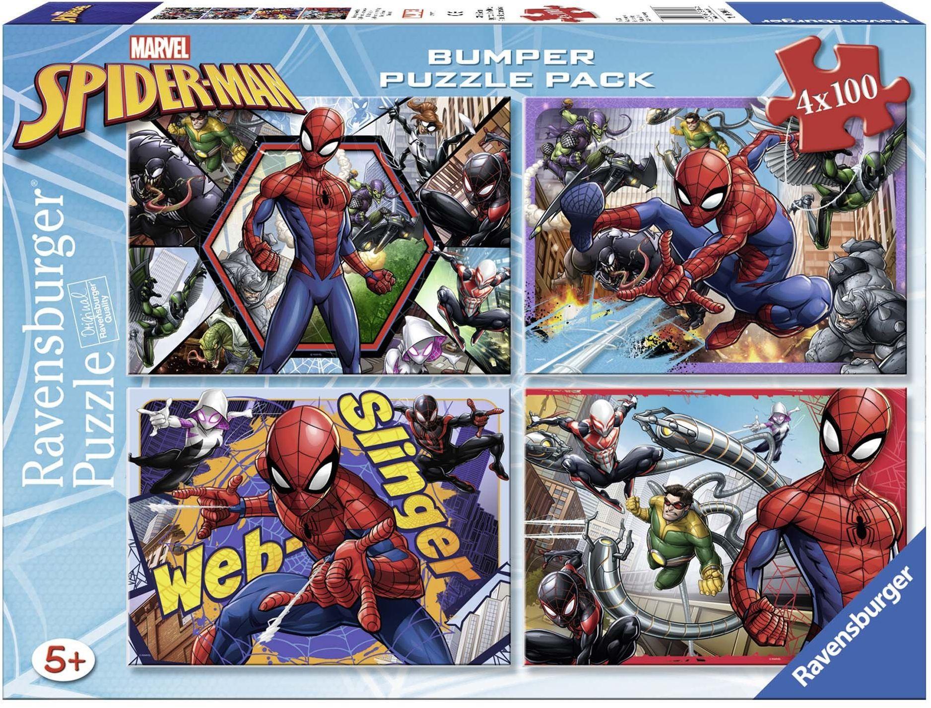 Ravensburger 6914 Puzzle 4 x 100 części Bumper Pack Spiderman