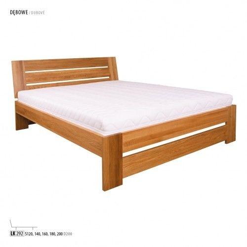 Łóżko LK292 Drewmax dębowe, Rozmiar: 120 x 200 cm, Kolor: Dąb bielony