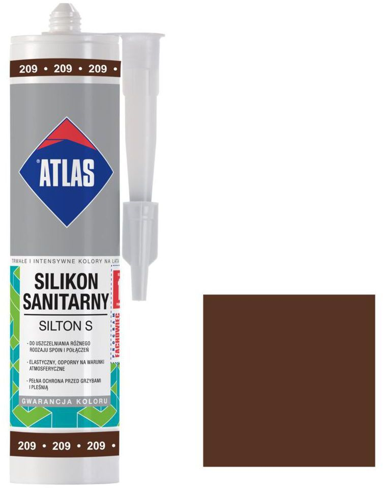Silikon sanitarny 209 280 ml Kasztanowy ATLAS
