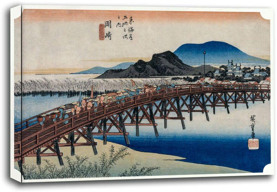 Yahagi bridge at okazaki, hiroshige - obraz na płótnie wymiar do wyboru: 70x50 cm