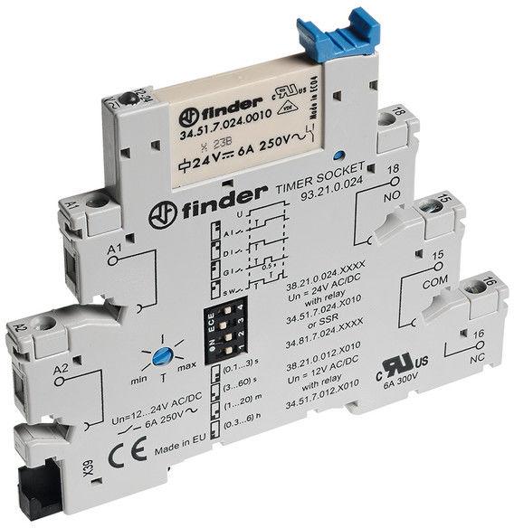 Przekaźnikowy moduł sprzęgający Finder 38.21.0.024.9024 Moduł sprzęgający, zwierny 1 NO (SPST-NO) wyjście 2A-24VDC 24 V AC/DC Finder 38.21.0.024.9024