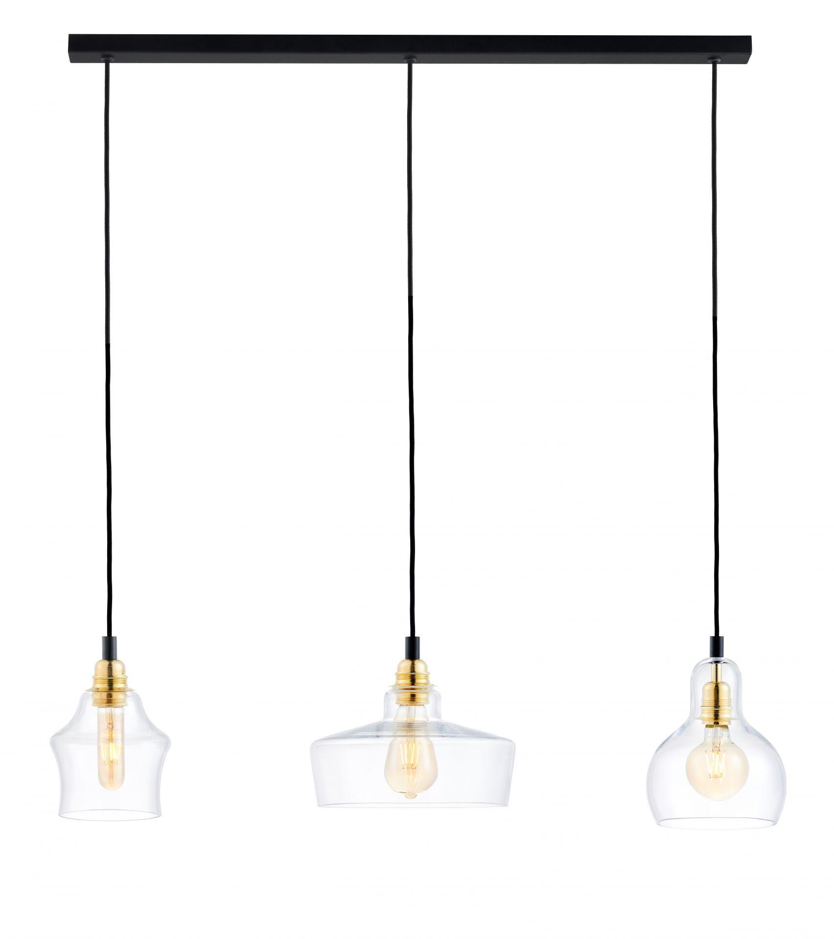 Lampa wisząca Longis 3 Gold 10875305 KASPA potrójna listwa ze szklanymi kloszami