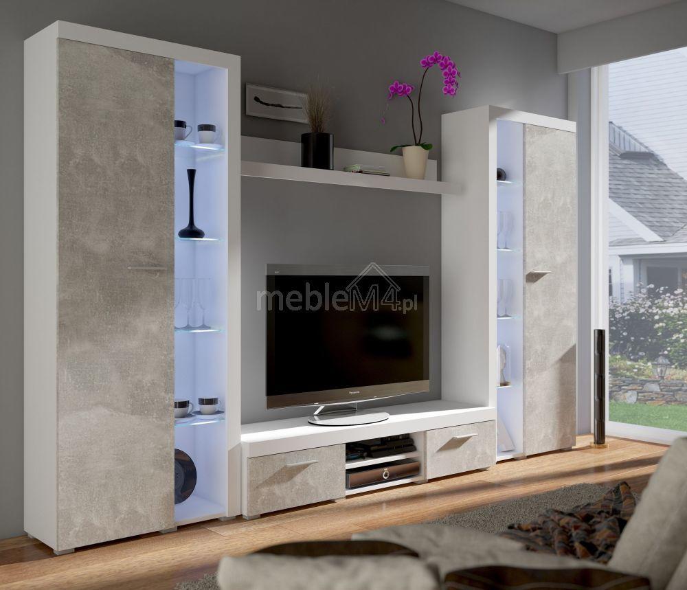 Meblościanka Rumba XL biała - beton