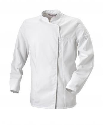 Bluza kucharska Expression biała z lamówką długi rękaw M