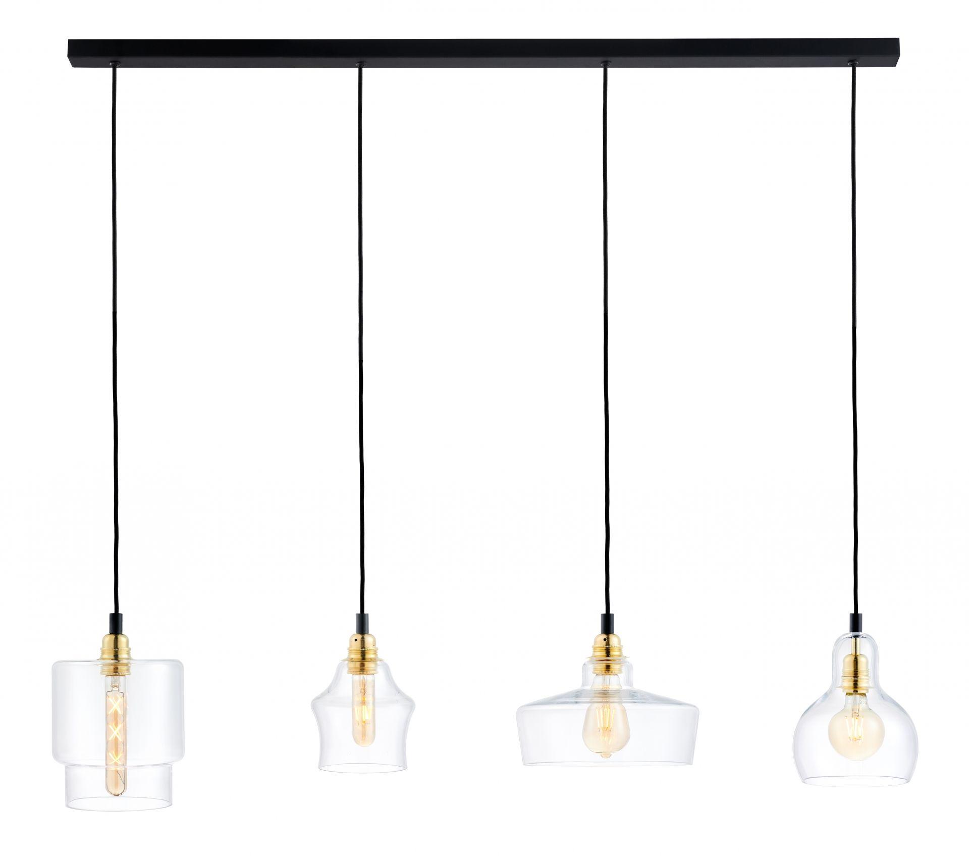 Lampa wisząca Longis 4 Gold 10876405 KASPA poczwórna listwa ze szklanymi kloszami