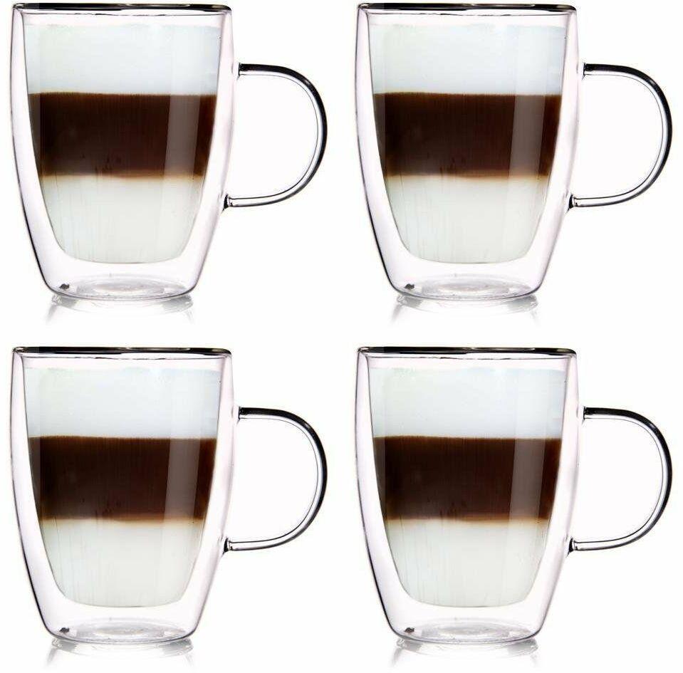 4x szklanka termiczna z podwójną ścianką do kawy 300 ml