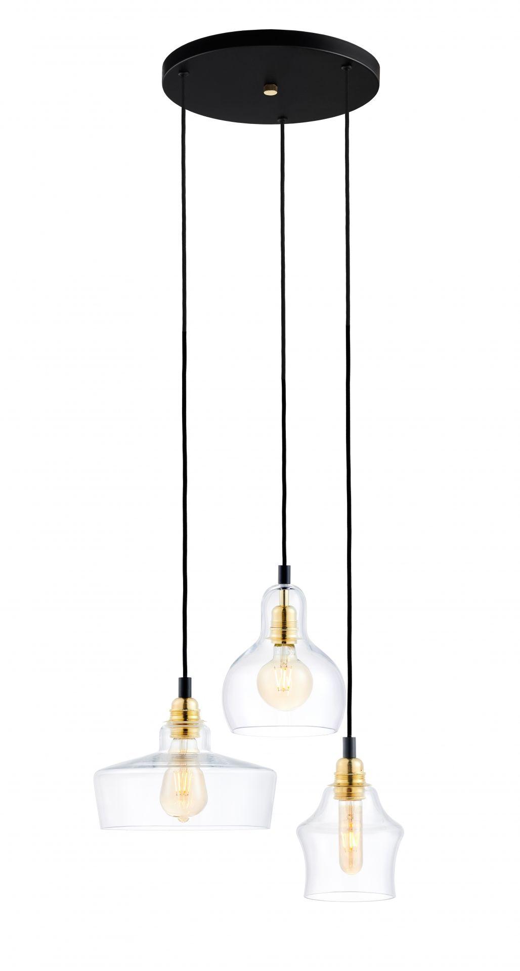 Lampa wisząca Longis 3 Gold 10877305 KASPA czarno-złota oprawa w nowoczesnym stylu