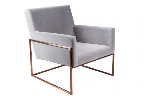 Minimalistyczny fotel PURA szary aksamit