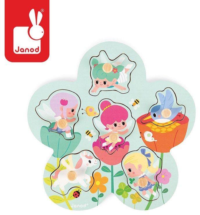 Puzzle drewniane Wesołe Wróżki J07099- Janod, układanki dla dzieci