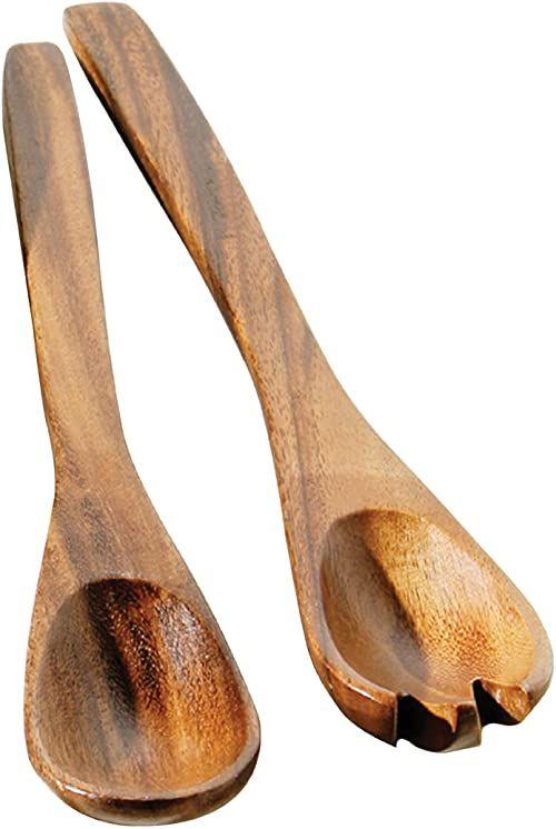 Premier Housewares Serwery do sałatek z drewna akacjowego i serwery zestaw 2 drewnianych szczypiec mała drewniana łyżka widelce do sałatek 35 cm x 5 cm x 2 cm