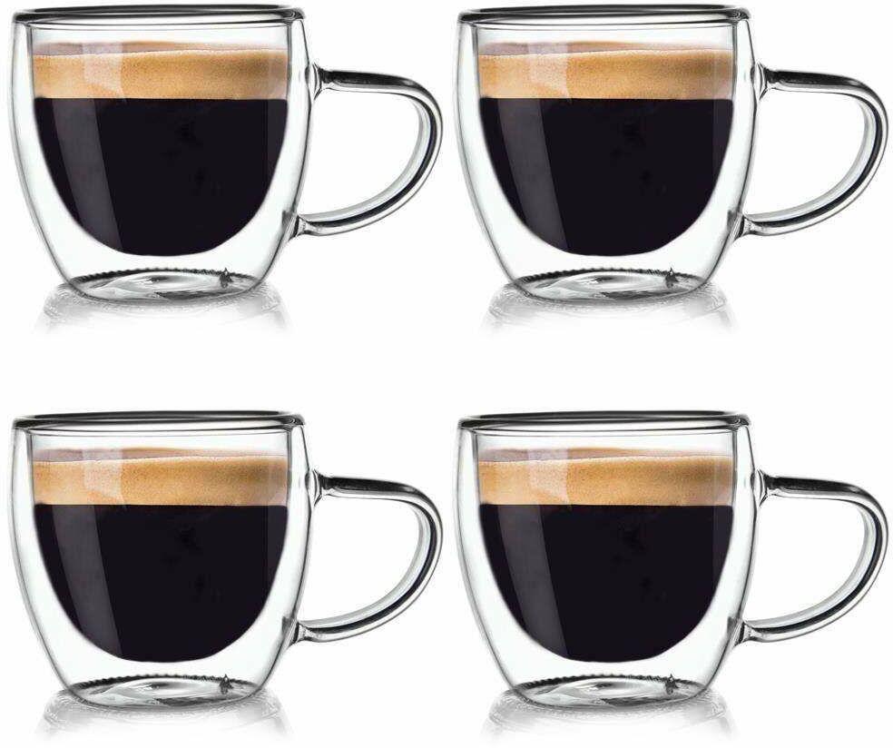 4x szklanka termiczna z podwójną ścianką do kawy 110 ml