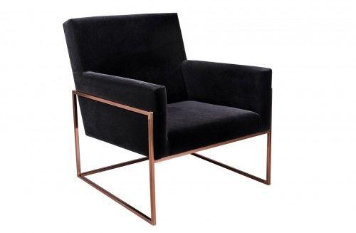 Minimalistyczny fotel PURA czarny aksamit