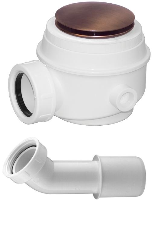 Omnires Syfon miedź antyczna brodzikowo-wannowy do brodzików z otworem 50 mm i wanien bez przelewu WB01XORB