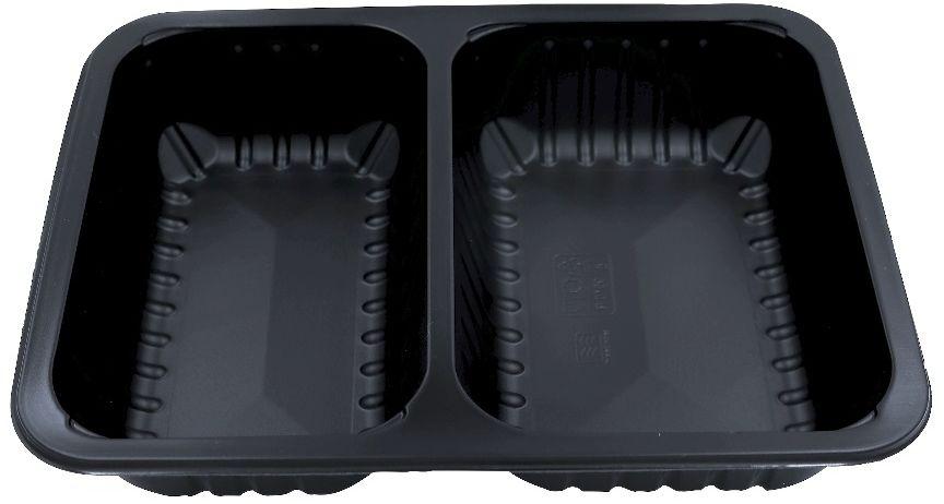 Pojemniki obiadowe do dań na wynos 2-komorowe 22,7x17,8x4 cm - 320 szt.