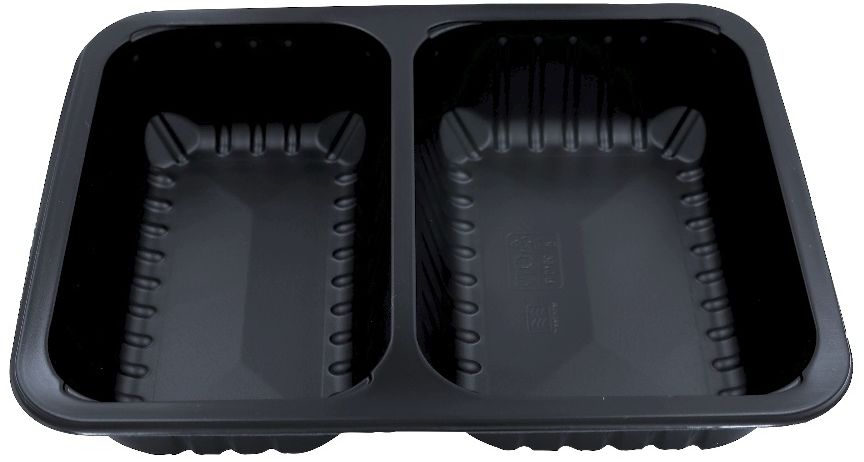 Pojemniki obiadowe do dań na wynos 2-komorowe 22,7x17,8x5 cm - 320 szt.