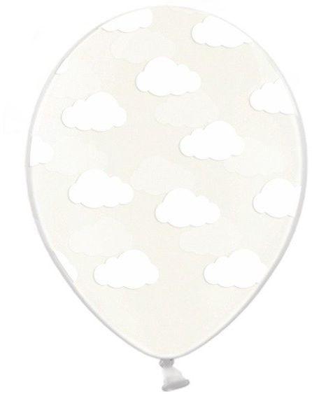 Balony przezroczyste w białe chmurki 30cm 6 sztuk SB14C-230-099-6 - PRZEZROCZYSTE