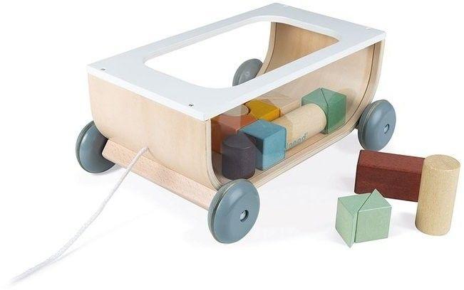 Janod - Wózek do Ciągnięcia Drewniany z 17 Klockami Sweet Cocoon