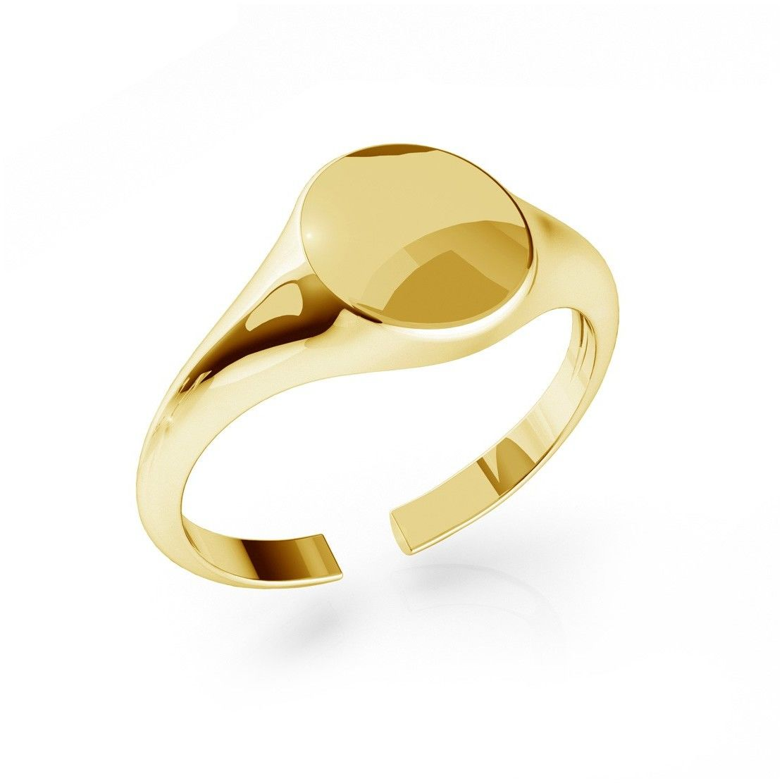 Srebrny sygnet, dowolna litera, grawer, srebro 925 : Litera - brak, Srebro - kolor pokrycia - Pokrycie żółtym 18K złotem