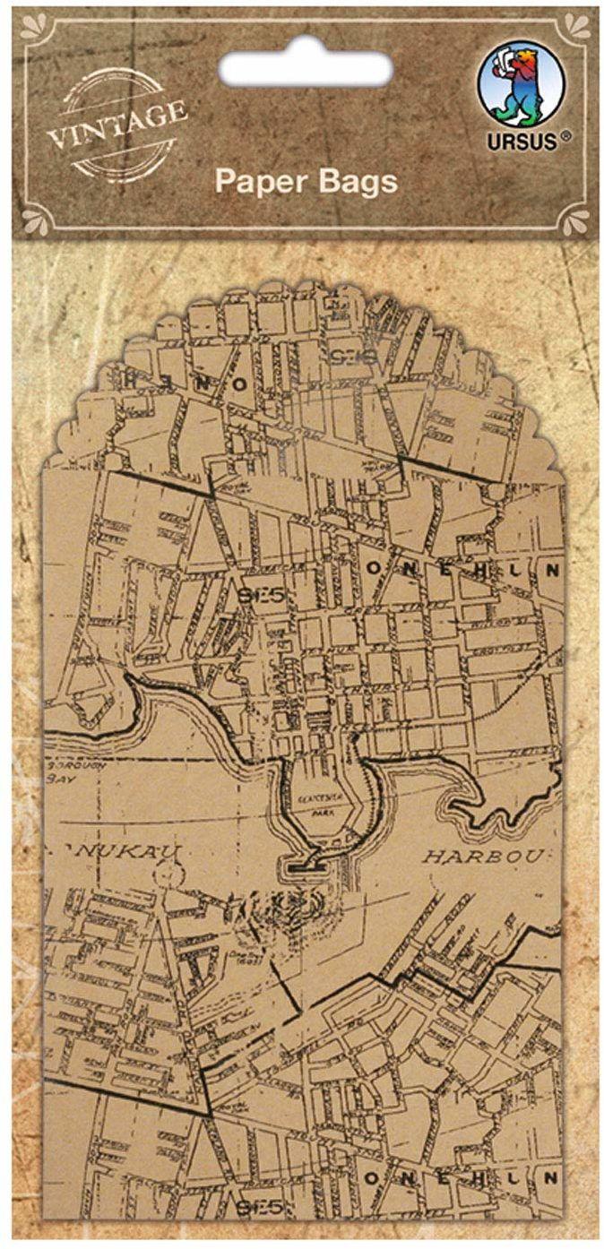 Paper Bags, woreczek na prezent z papieru zadrukowany starą mapą miasta, 6 sztuk po 8,8 x 13,4 cm