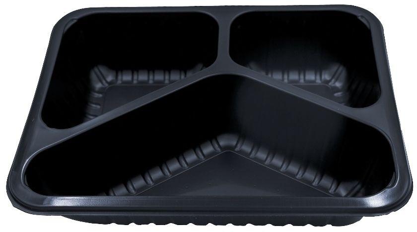 Pojemniki obiadowe do dań na wynos 3-komorowe 22,7x17,8x4 cm - 320 szt.