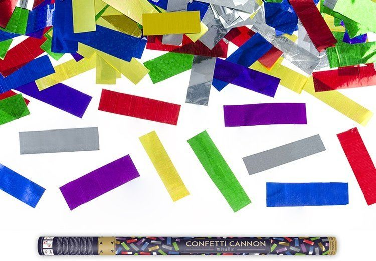 Tuba strzelająca kolorowym metalicznym konfetti 80cm 1szt TUKM80-000
