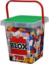 Simba Blox 104114200 klocki dla dzieci od 3 roku życia, 8 szt. pudełek z podstawą, w pełni kompatybilne, mieszane kolory, czarny, czerwony, biały, żółty, niebieski, 104114200