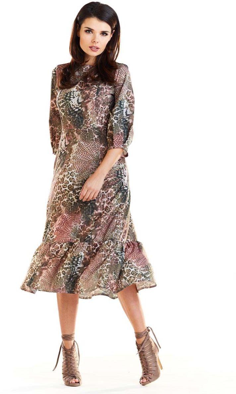 Brązowa midi sukienka w cętki z falbanką