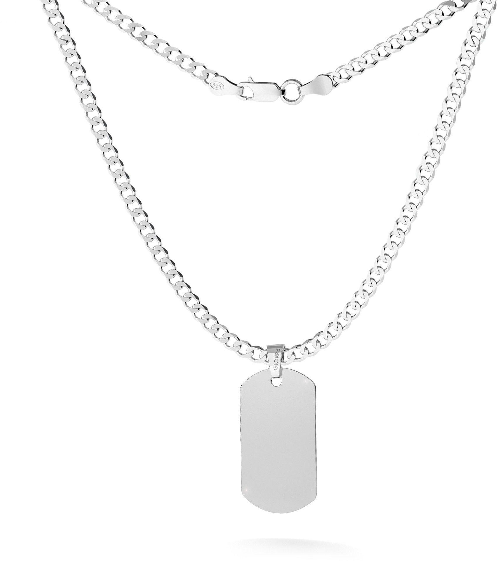 Srebrny nieśmiertelnik na łańcuszku typu pancerka, grawer, srebro 925 : Długość (cm) - 60, Srebro - kolor pokrycia - Pokrycie platyną