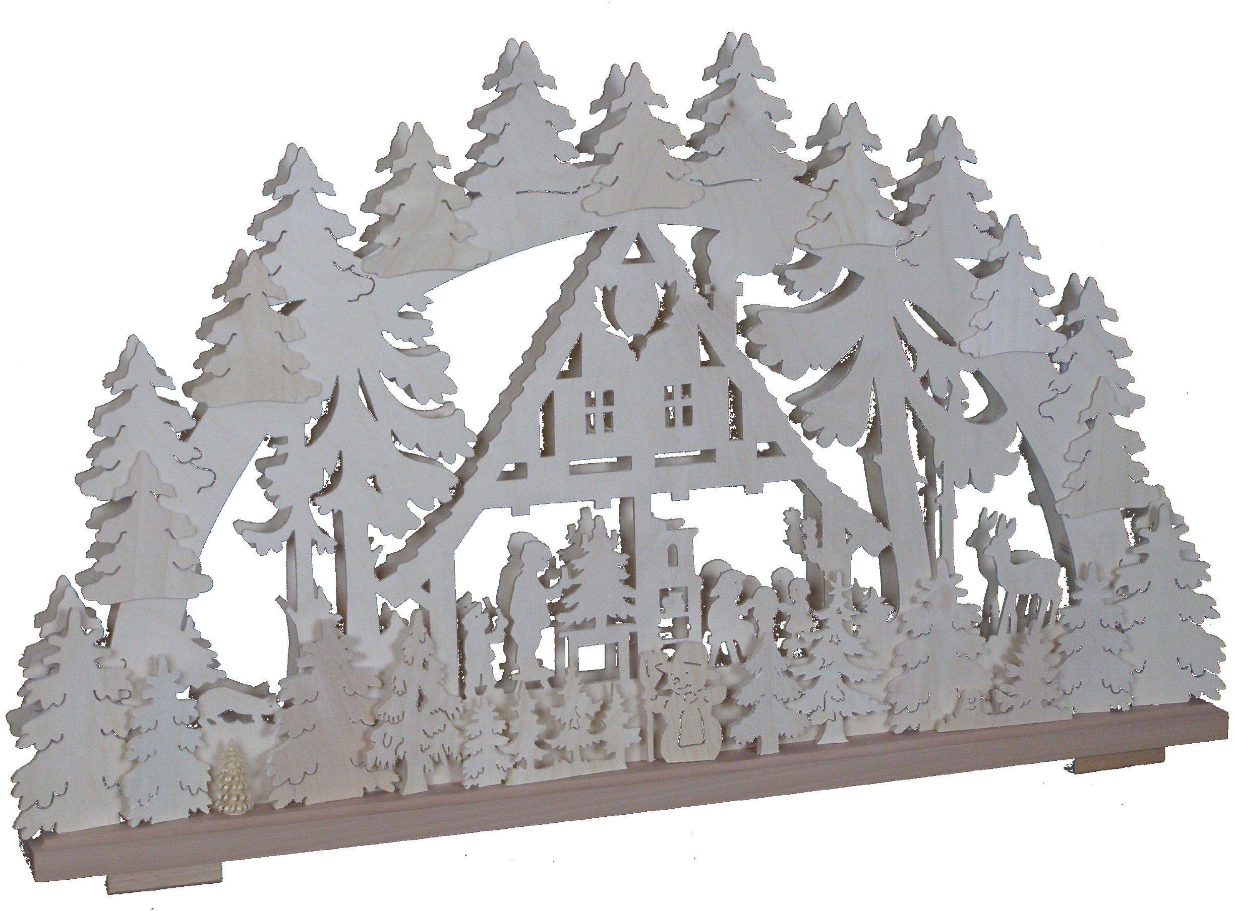 SchwibboLa 3-102 Rudawy podwójnie podświetlany świecznik łukowy z certyfikatem 3-102, 70 x 42 cm