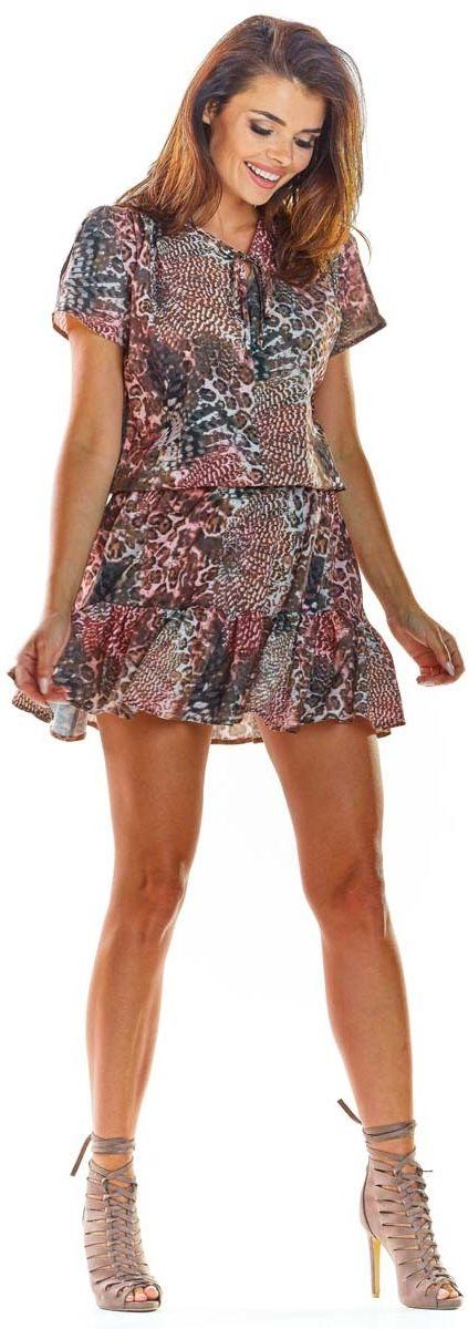 Brązowa zwiewna wzorzysta sukienka z wiązaniem