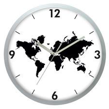 Zegar ścienny srebrny Mapa Świata