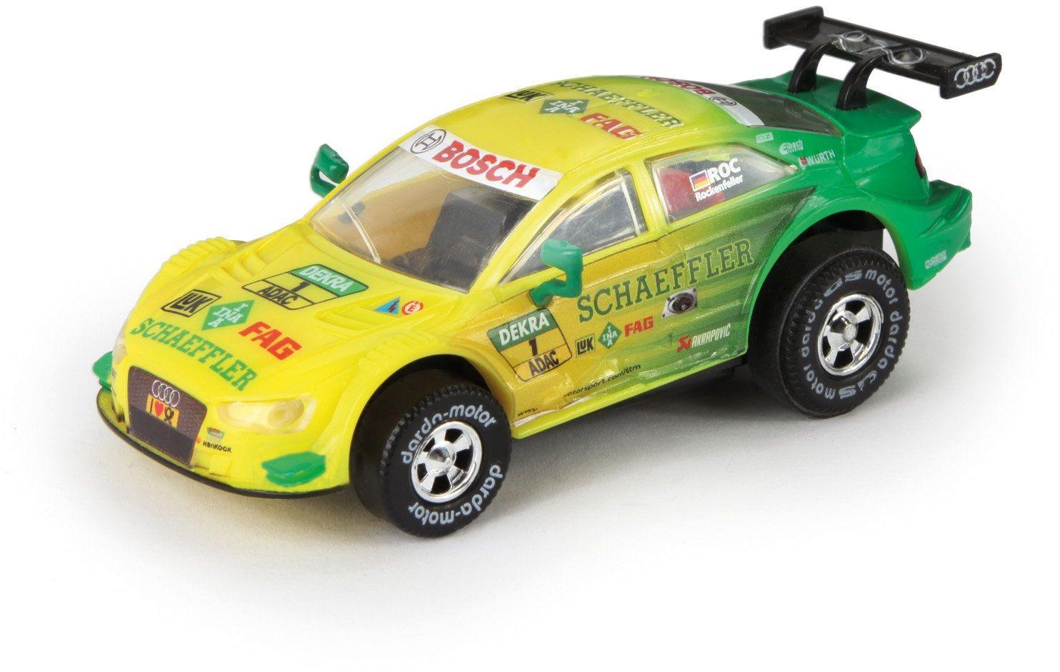 Lena 50383 Darda Audi RS 5 DTM Rockenfeller samochód z wymiennym silnikiem do ciągnięcia na torze wyścigowym, dla dzieci od 5 lat, ok. 8 cm, żółto-zielony