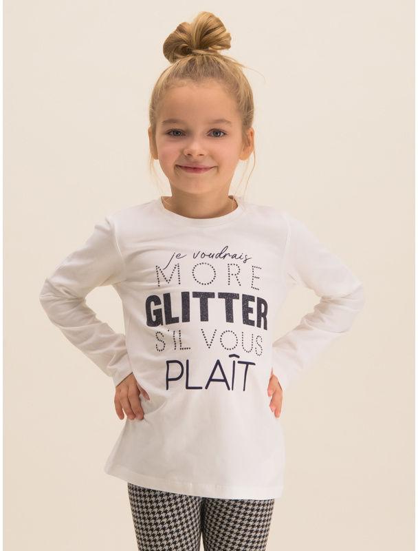 Bluzka BLACK COUTURE More Glitter 44213581 Biały Regular Fit