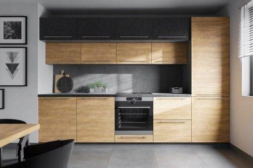 Zestaw mebli kuchennych laminowanych PREMIUM seria ASTORIA, dąb artisan, szary, biały, czarny połysk/mat