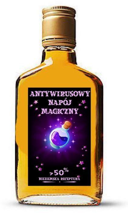 Antywirusowy napój magiczny - etykiety na alkohol