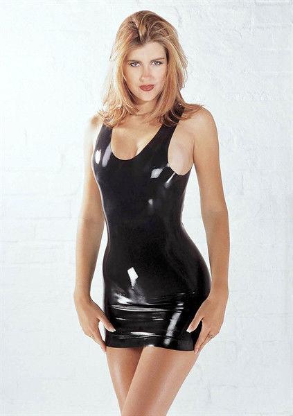Sharon Sloane Latex Mini Dress - Latex Mini Dress Black M