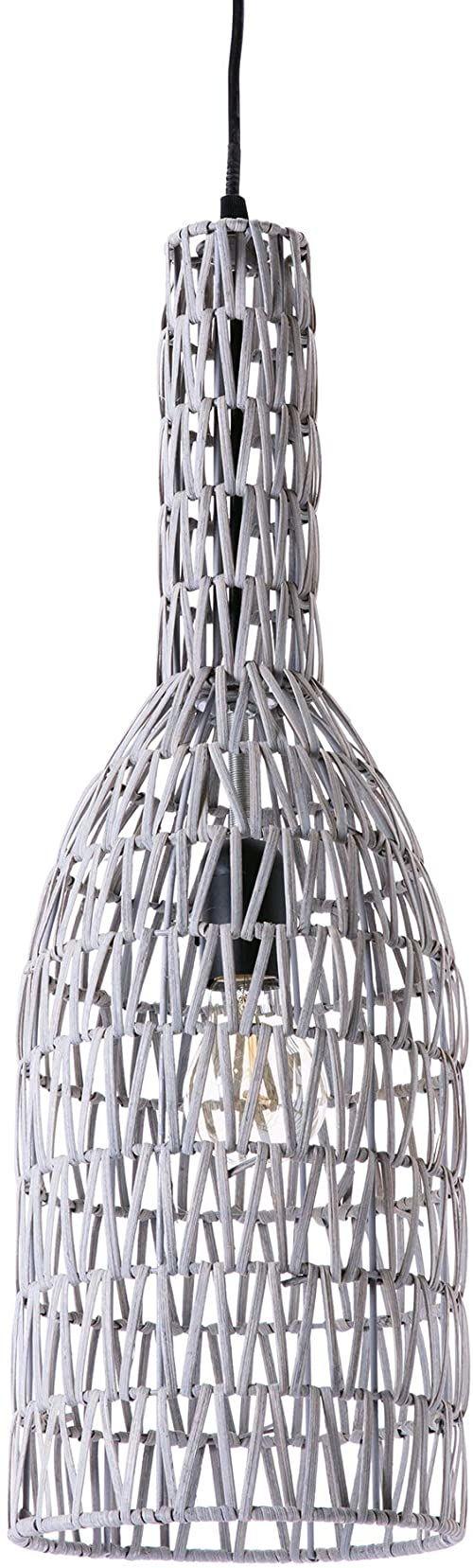 Lussiol 250271 lampa wisząca, rattan, 60 W, szara, ø 15 x wys. 60 cm