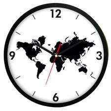 Zegar ścienny czarny Mapa Świata